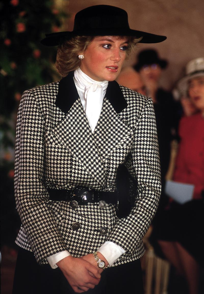 Princess Diana donned a statement suit for a trip to Munich, Germany in 1987 (Getty Images)