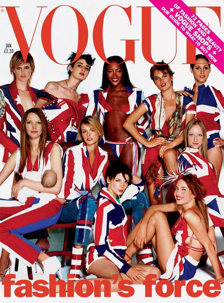 "<p>Tennant <a href=""https://www.vogue.co.uk/article/stella-tennant-british-vogue-cover-december-2018"" rel=""nofollow noopener"" target=""_blank"" data-ylk=""slk:described"" class=""link rapid-noclick-resp"">described</a> the star-studded British <em>Vogue</em> cover from Jan. 2002 as ""a sort of yearbook for the modeling world at the time."" She later confessed: ""My schedule was so hectic at that point that I missed the actual day and had to be Photoshopped in later.""</p>"