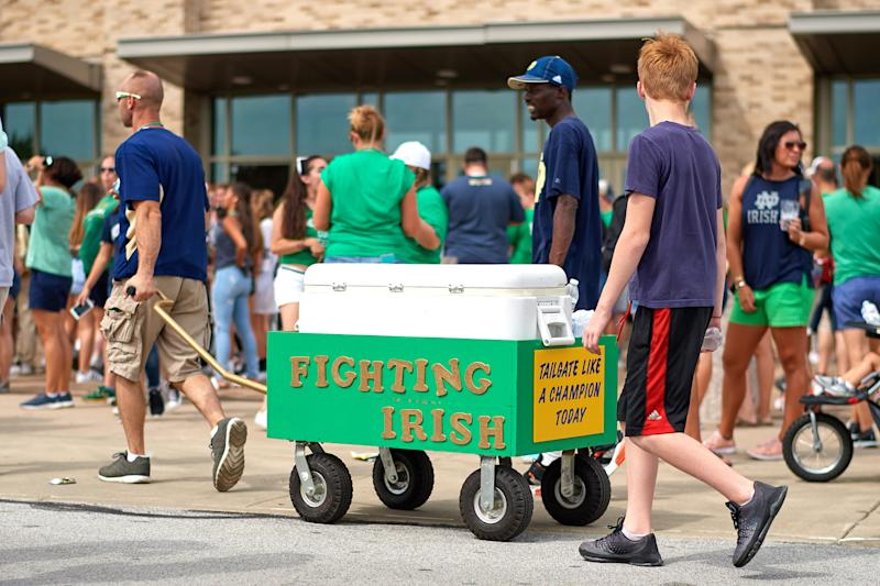 Notre Dame fans tailgate prior to a game between Michigan and Notre Dame on Sept. 1, 2018. (Robin Alam/Icon Sportswire via Getty Images)