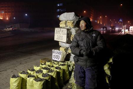 Bags of coal and wood are offered for sale in central Ulaanbaatar, Mongolia January 26, 2017. REUTERS/B. Rentsendorj