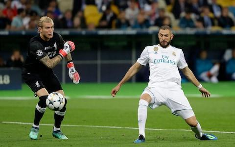 <span>Karius first howler lets Benzema in</span> <span>Credit:  AP </span>
