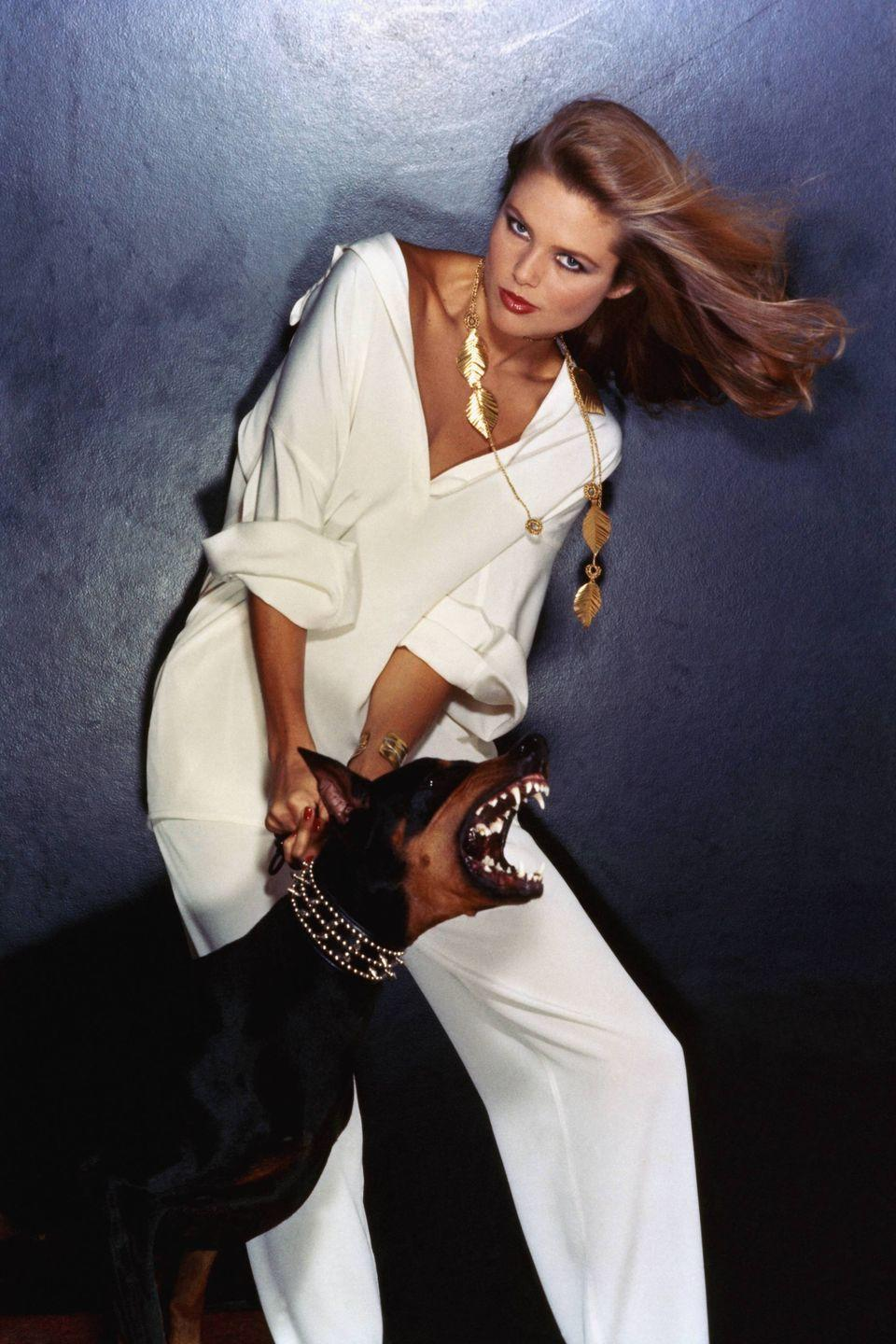 "<p>Christie Brinkley has her dog to thank for her modeling career. In an <a href=""https://wwd.com/eye/people/christie-brinkley-ageism-and-healthy-living-10922910/"" rel=""nofollow noopener"" target=""_blank"" data-ylk=""slk:interview with WWD"" class=""link rapid-noclick-resp"">interview with <em>WWD</em></a>, Brinkley revealed that, while calling a veterinarian for her sick dog in Paris, she met a photographer at the telephoning office who saw her potential. He asked to shoot her for a project, and Brinkley has since graced photoshoot sets worldwide. <em>Merci</em>, pooch!</p>"