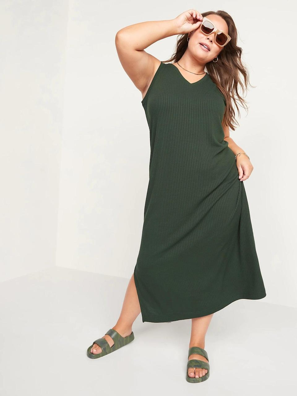 <p>Layer any <span>Old Navy Sleeveless V-Neck Ribbed Maxi Shift Dress</span> ($40) under a denim jacket or blazer this autumn, whether you fall for this deep green or a rich orange instead.</p>