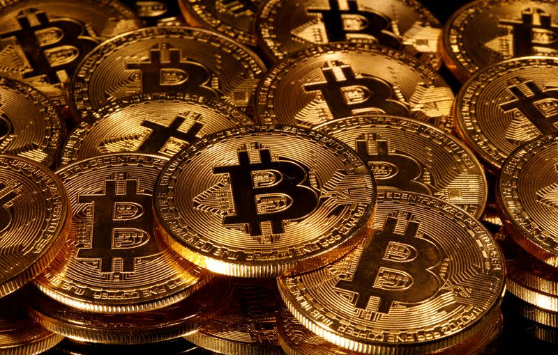 FILE PHOTO: Representations of virtual currency Bitcoin are seen in this picture illustration taken
