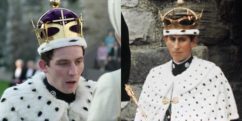 <p>Prince Charles donned traditional garb for his Prince of Wales investiture in Caernarvon, Wales in 1969. His fur shawl and crown were carefully recreated in season 3. </p>