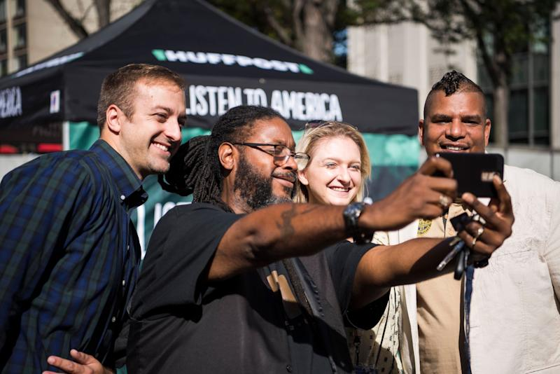 Zac Kohl of Citizens Akron, left, Ace Epps of Akron BMe Community, HuffPost's Isabella Carapella and Denny Wilson of FI Community Housing take a selfie.
