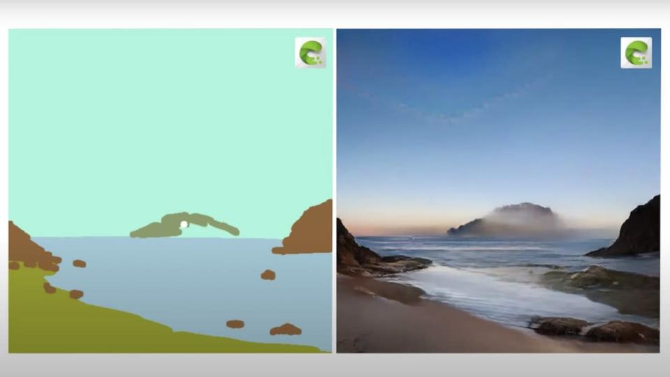 A crude drawing of a seascape from the shore next to a photorealistic rendering of the same image