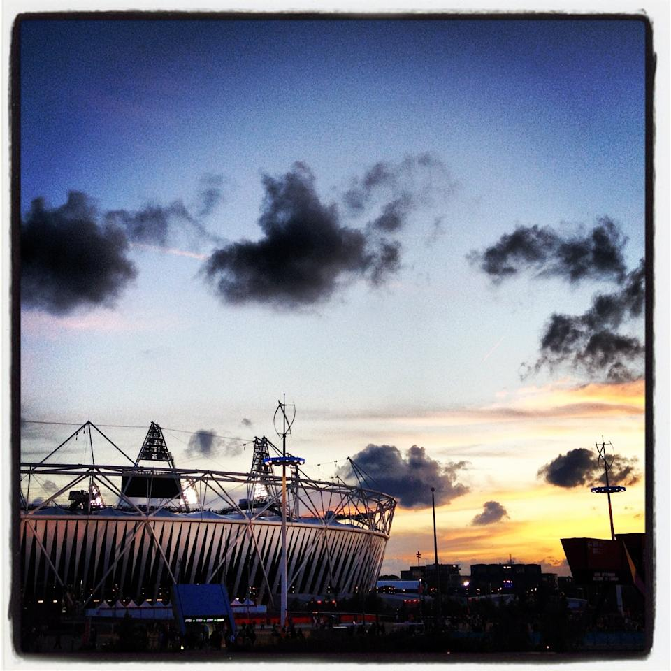 LONDON, ENGLAND - AUGUST 01: (EDITORS NOTE: Image was created using a smartphone and processed with Instagram.) The Olympic Stadium at sunset on Day 5 of the London 2012 Olympic Games at Olympic Park on August 1, 2012 in London, England. (Photo by Marianna Massey/Getty Images)