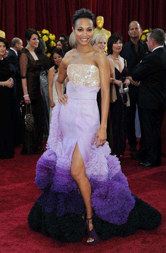 "Zoe Saldana   Grade: C    The ""Avatar"" star took a chance in a violet Givenchy couture gown. We loved the sparkling bodice and ruffled tulle skirt separately, just not together."