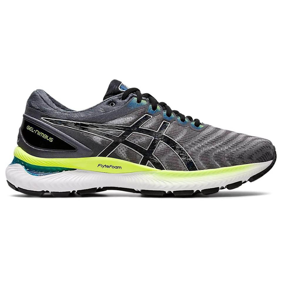 """<p><strong>Asics</strong></p><p>amazon.com</p><p><strong>$119.95</strong></p><p><a href=""""https://www.amazon.com/dp/B07SCLNDFW?tag=syn-yahoo-20&ascsubtag=%5Bartid%7C2141.g.36533538%5Bsrc%7Cyahoo-us"""" rel=""""nofollow noopener"""" target=""""_blank"""" data-ylk=""""slk:Shop Now"""" class=""""link rapid-noclick-resp"""">Shop Now</a></p><p>Plush plush plush! The Nimbus is known for its pillowy goodness that can carry you through miles while keeping your feet happy. Though Asics can run a bit narrow, this year's model widened up a bit. </p><p><a class=""""link rapid-noclick-resp"""" href=""""https://www.amazon.com/ASICS-Womens-Gel-Nimbus-Running-Peacoat/dp/B07SCPK38V/ref=sr_1_6?dchild=1&keywords=asics+nimbus&qid=1621604040&sr=8-6&tag=syn-yahoo-20&ascsubtag=%5Bartid%7C2141.g.36533538%5Bsrc%7Cyahoo-us"""" rel=""""nofollow noopener"""" target=""""_blank"""" data-ylk=""""slk:Buy Women's"""">Buy Women's </a></p>"""