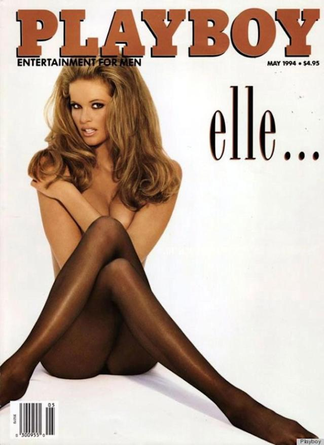<p>Elle Macpherson showed off her super-long legs on the May 1994 cover. Wearing nothing but a pair of sheer black tights, the Aussie supermodel looked like a modern Brigitte Bardot.<br>(Photo: Playboy) </p>