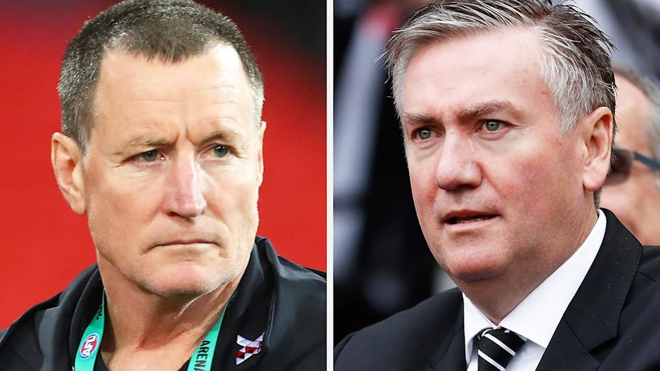 A 50-50 split image shows John Worsfold on the left and Eddie McGuire on the right.
