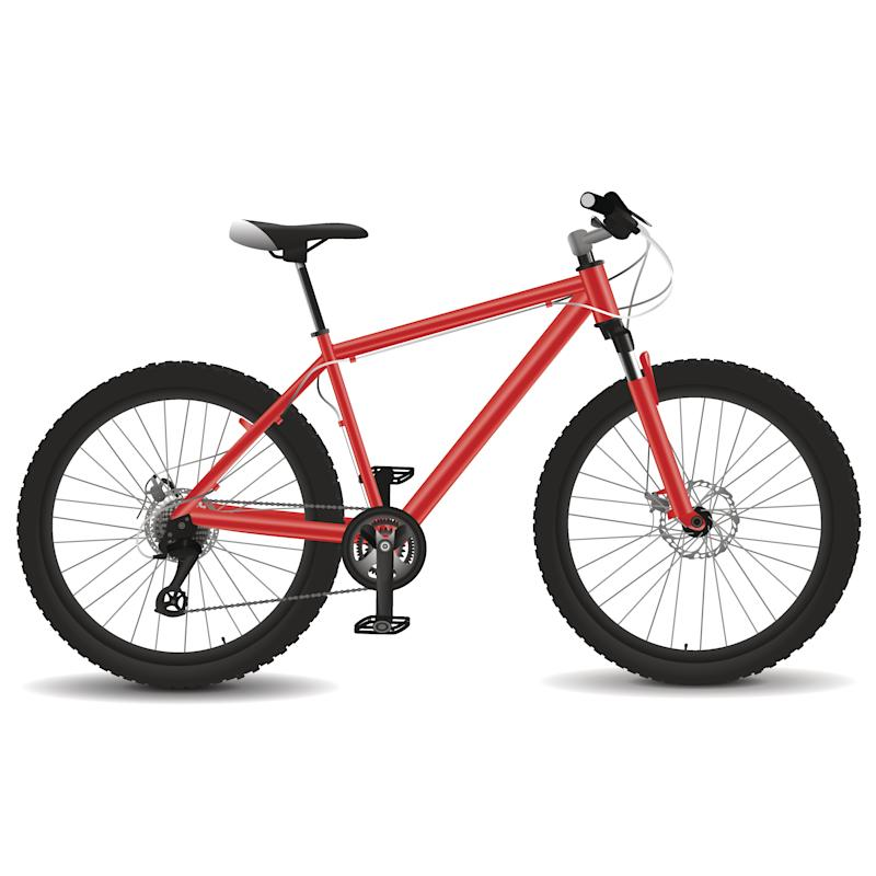 Realistic mountain bicycle illustration. The frame colors can be easily changed.