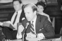 <p>Biden speaks at the Senate Judiciary Committee hearing on the nomination of Edwin Meese to be Attorney General in 1984.</p>