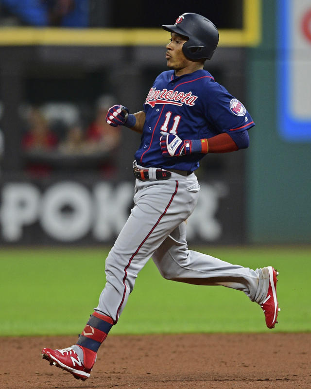 Minnesota Twins' Jorge Polanco runs to second after hitting a two-RBI double in the seventh inning of a baseball game against the Cleveland Indians, Friday, July 12, 2019, in Cleveland. (AP Photo/David Dermer)