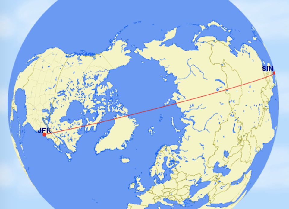 Long haul: the shortest route between New York JFK and Singapore (Great Circle Mapper)