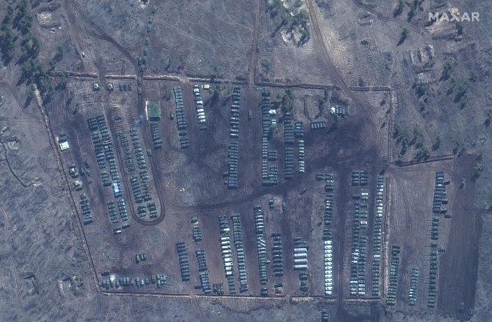 This image provided by Maxar Technologies shows close up of tanks and equipment at Pogorovo training area near Voronezh in Russia on Saturday, April 10, 2021. Russia has insisted that it has the right to restrict foreign naval ships' movement off Crimea, rejecting Ukrainian complaints and Western criticism. Ukraine last week protested the Russian move to close broad areas of the Black Sea near Crimea to foreign navy ships and state vessels until November. (Satellite image ©2021 Maxar Technologies via AP)