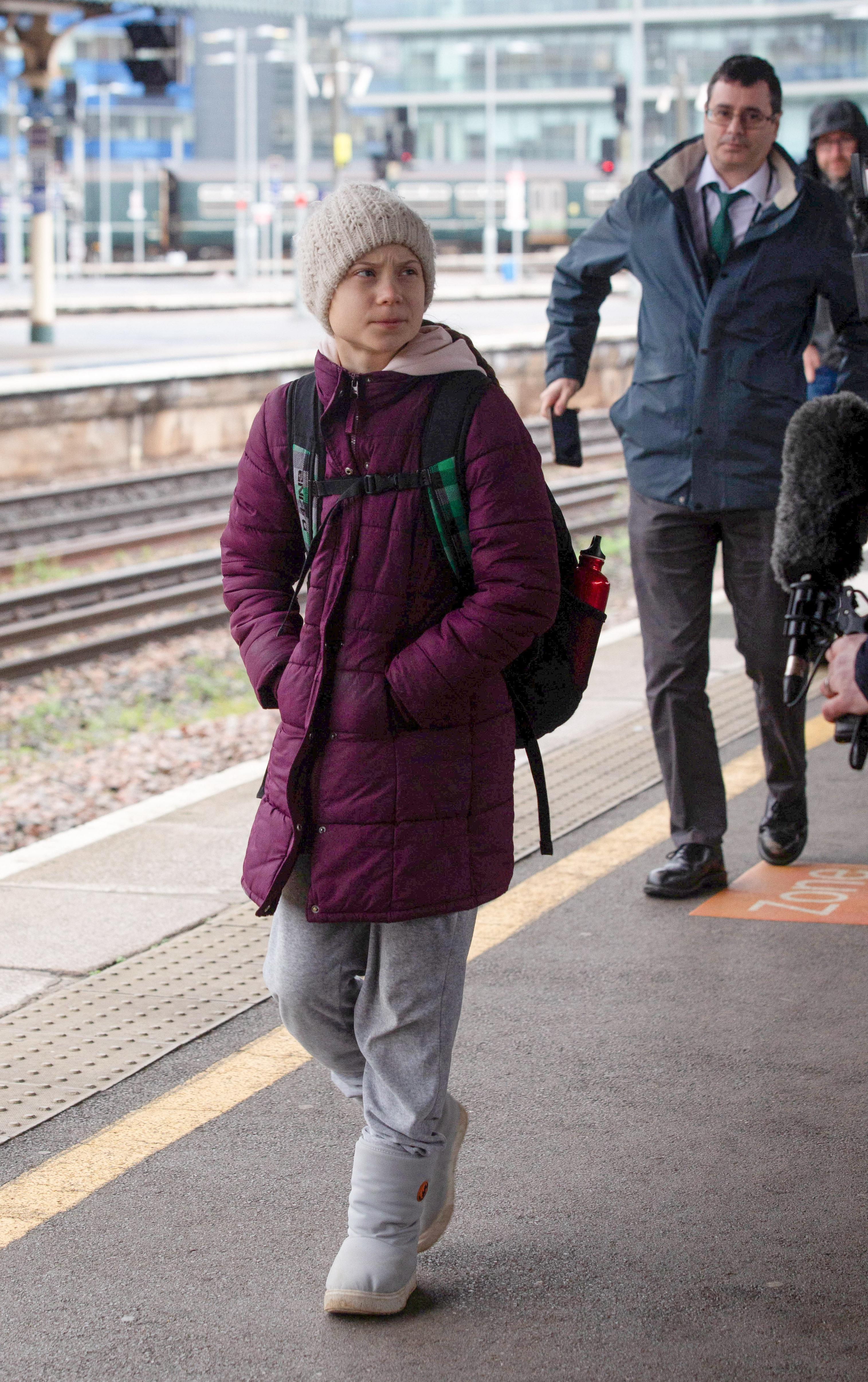 Climate campaigner Greta Thunberg arrives at Bristol Temple Meads train station. (SWNS)