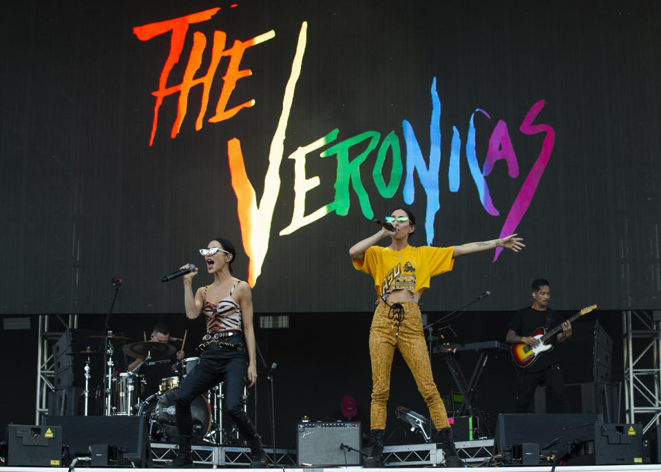 The Veronicas performing onstage