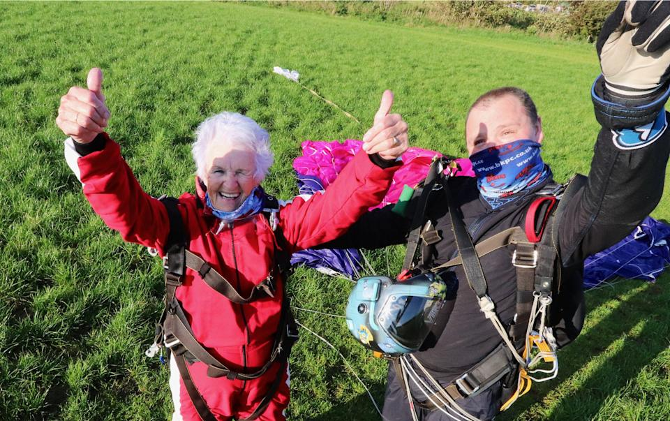 Patricia Baker after her skydive. (SWNS)