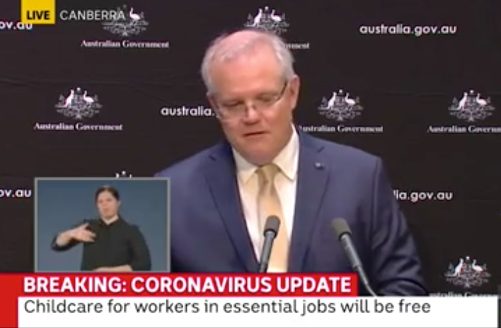 Scott Morrison appeared to become emotional while speaking at a coronavirus press conference.
