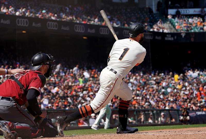 SAN FRANCISCO, CA - JUNE 30: Kevin Pillar #1 of the San Francisco Giants bats against the Arizona Diamondbacks in the bottom of the seventh inning at Oracle Park on June 30, 2019 in San Francisco, California. (Photo by Thearon W. Henderson/Getty Images)