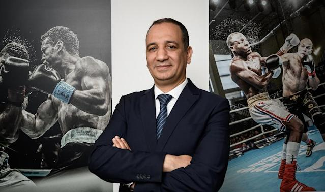 Interim AIBA president Mohamed Moustahsane took charge of the embattled organisation in March (AFP Photo/Fabrice COFFRINI)