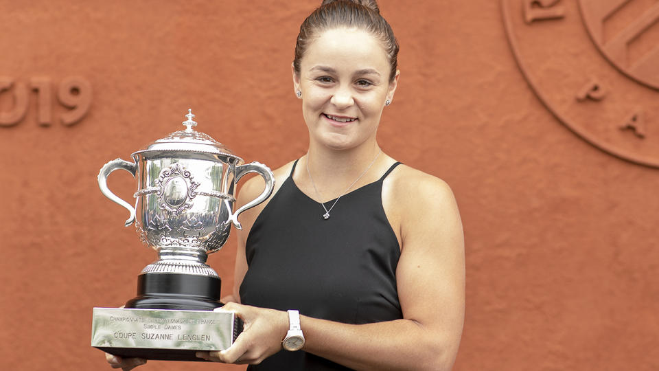 Ashleigh Barty, pictured here with the 2019 French Open trophy.
