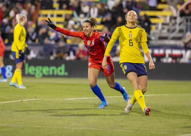 "<a class=""link rapid-noclick-resp"" href=""/olympics/rio-2016/a/1124307/"" data-ylk=""slk:Carli Lloyd"">Carli Lloyd</a> celebrates one of her two first-half goals for the USWNT against Sweden. (Jason Mowry/Icon Sportswire/Getty Images)"