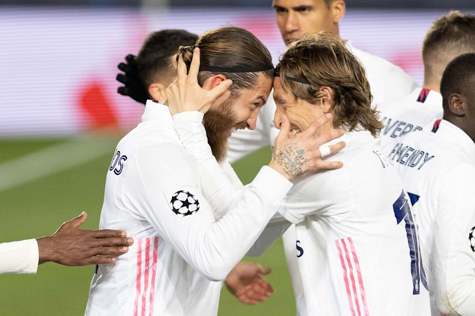 Sergio Ramos and Luka Modric celebrates after scoring his team's second goal during the UEFA Champions League Round of 16 match between Real Madrid and Atalanta at Estadio Santiago Bernabeu.