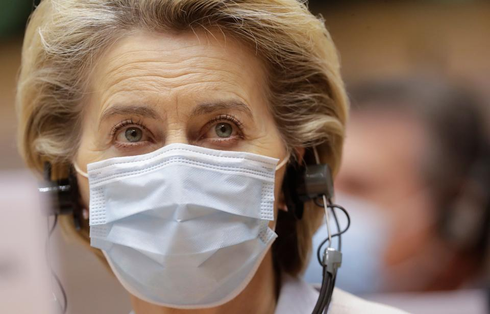 European Commission President Ursula von der Leyen wears a protective face mask prior to addressing a plenary session at the European Parliament in Brussels, Wednesday, Nov. 25, 2020. European Commission President Ursula von der Leyen said Wednesday that it is still uncertain if a deal on the future relationship between the EU and the UK will be possible before the end of the year. (Olivier Hoslet, Pool via AP) (Photo: ASSOCIATED PRESS)