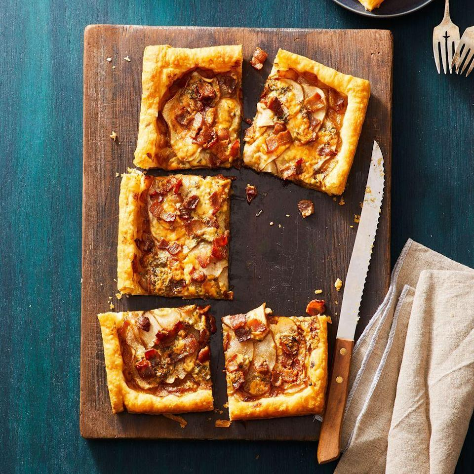 """<p>Enjoy this salty-meets-sweet tart as an appetizer, or as the main course (if you're saving room for a <a href=""""https://www.goodhousekeeping.com/holidays/valentines-day-ideas/g3180/valentines-desserts/"""" rel=""""nofollow noopener"""" target=""""_blank"""" data-ylk=""""slk:Valentine's Day dessert"""" class=""""link rapid-noclick-resp"""">Valentine's Day dessert</a>, that is).<br></p><p><em><a href=""""https://www.goodhousekeeping.com/food-recipes/a30434015/pear-blue-cheese-tart-recipe/"""" rel=""""nofollow noopener"""" target=""""_blank"""" data-ylk=""""slk:Get the recipe for Pear, Bacon, and Blue Cheese Tart »"""" class=""""link rapid-noclick-resp"""">Get the recipe for Pear, Bacon, and Blue Cheese Tart »</a></em></p>"""