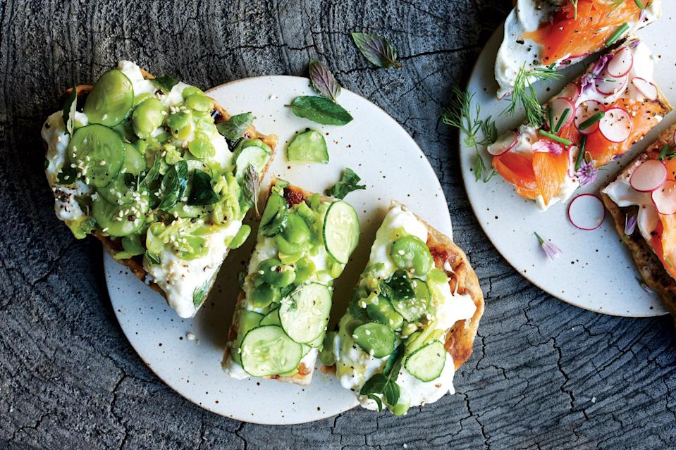 """If you can't find fava beans, sugar snap peas cut into bite-size pieces are a fine alternative. <a href=""""https://www.epicurious.com/recipes/food/views/flatbread-with-fava-beans-cucumbers-and-burrata?mbid=synd_yahoo_rss"""" rel=""""nofollow noopener"""" target=""""_blank"""" data-ylk=""""slk:See recipe."""" class=""""link rapid-noclick-resp"""">See recipe.</a>"""