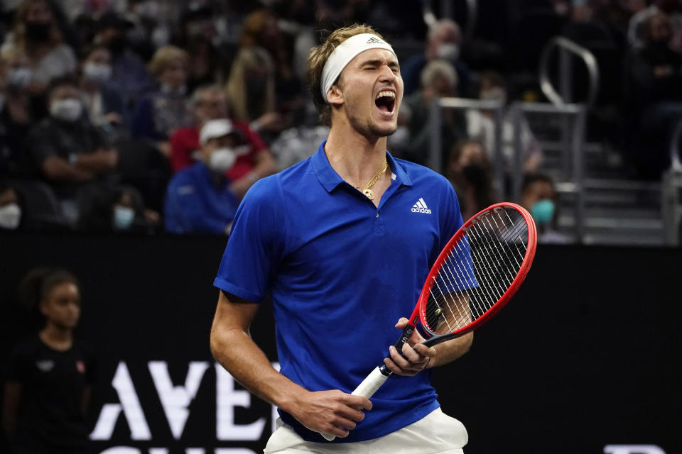 Team Europe's Alexander Zverev, of Germany, celebrates a point during his match against Team World's John Isner, of the USA, during Laver Cup tennis, Saturday, Sept. 25, 2021, in Boston. (AP Photo/Elise Amendola)