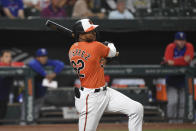 Baltimore Orioles' Kelvin Gutierrez watches his two-run home run hit against Texas Rangers starting pitcher Jordan Lyles during the seventh inning of a baseball game, Saturday, Sept. 25, 2021, in Baltimore. (AP Photo/Terrance Williams)