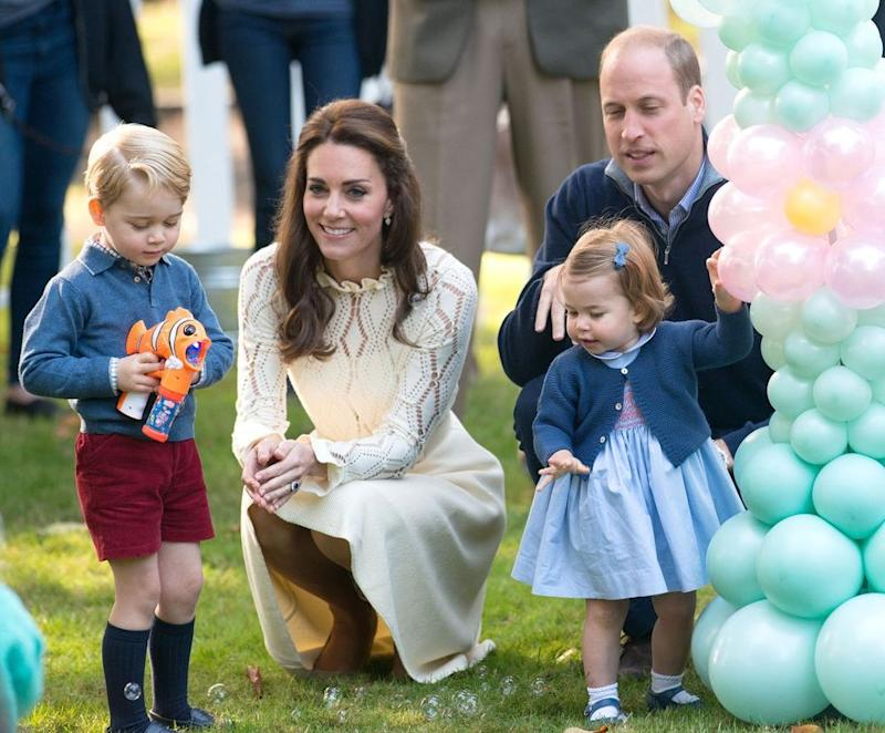 Prince George with mom Kate Middleton, sister Charlotte and and dad William in Victoria, Canada in September 2016.