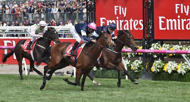 Rekindling riden by Corey Brown leads Johannes Vermeer riden by Ben Melham and Max Dynamite riden by Zac Purton in the last few meters of the 157th Melbourne Cup (AFP Photo/PAUL CROCK)