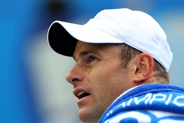 LONDON, ENGLAND - JUNE 13: Andy Roddick of the USA talks to the umpire during his mens singles second round match against Edouard Roger-Vasselin of France on day three of the AEGON Championships at Queens Club on June 13, 2012 in London, England. (Photo by Clive Brunskill/Getty Images)
