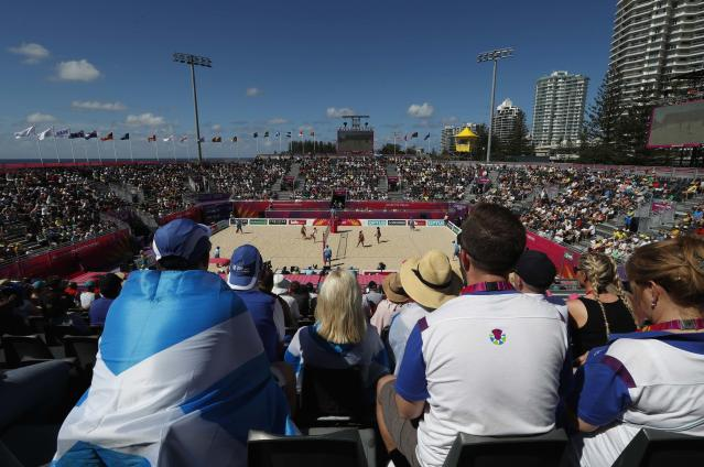 Beach Volleyball - Gold Coast 2018 Commonwealth Games - Women Preliminary - Pool A - Scotland v Grenada - Coolangatta Beachfront - Gold Coast, Australia - April 6, 2018. General view of the match. REUTERS/Paul Childs