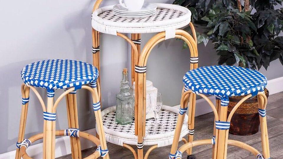 Brighten up your kitchen space with these patterned stools.