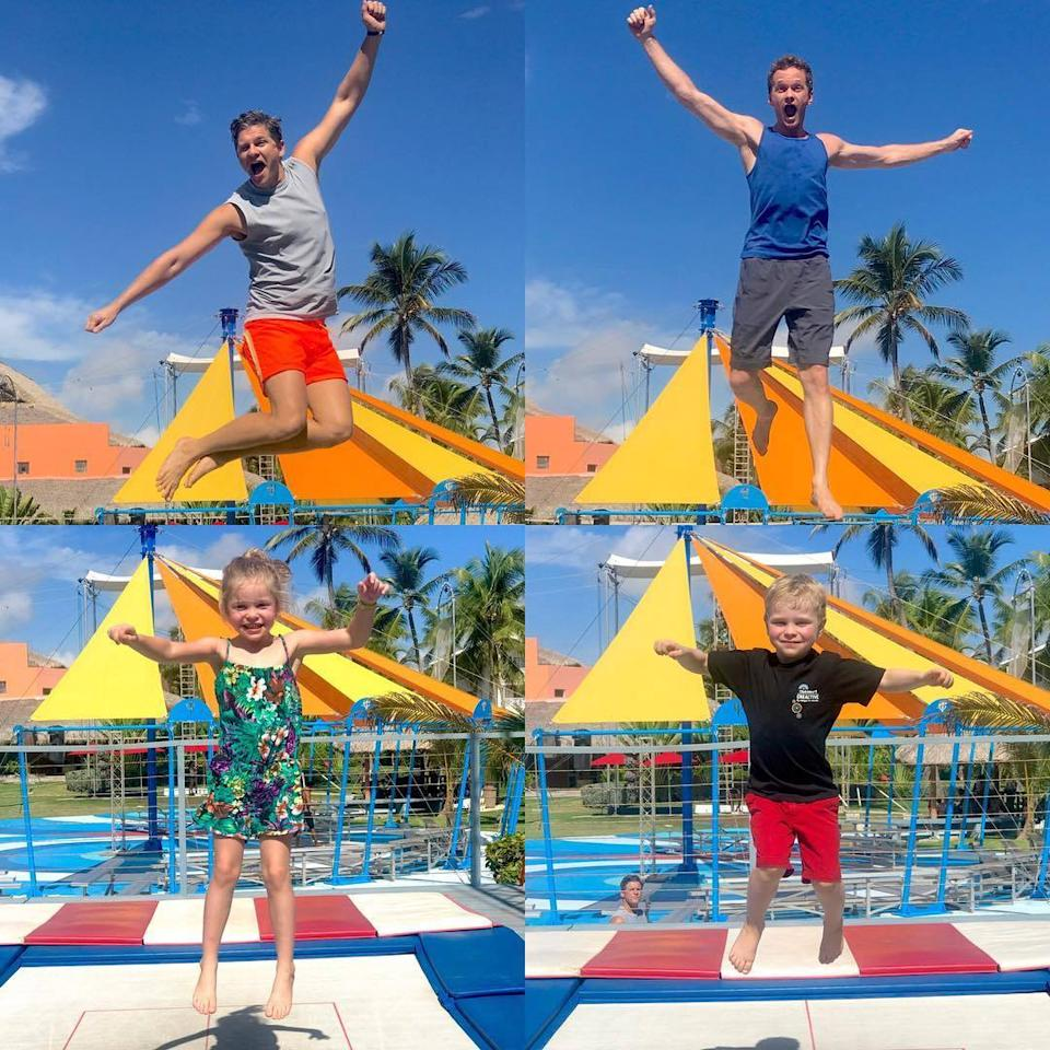 """<p>NPH posted this fun family photo compilation of his hubby, David Burtka, and their 6-year-old twins, Harper and Gideon, literally jumping for joy. """"Spent the last four days at @clubmedpuntacana,"""" the actor wrote. """"Sun, surf and circus training - for joy we jumped! @clubmed #clubmedpuntacana"""" (Photo: <a href=""""https://www.instagram.com/p/BLgx_r-DGPD/"""">Instagram</a>)</p>"""