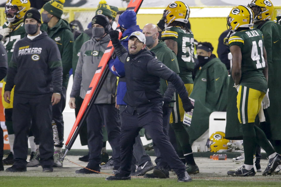Matt LaFleur's decision to kick a field goal late in the fourth quarter of the NFC championship game was widely questioned from the moment he made it. (AP Photo/Mike Roemer)