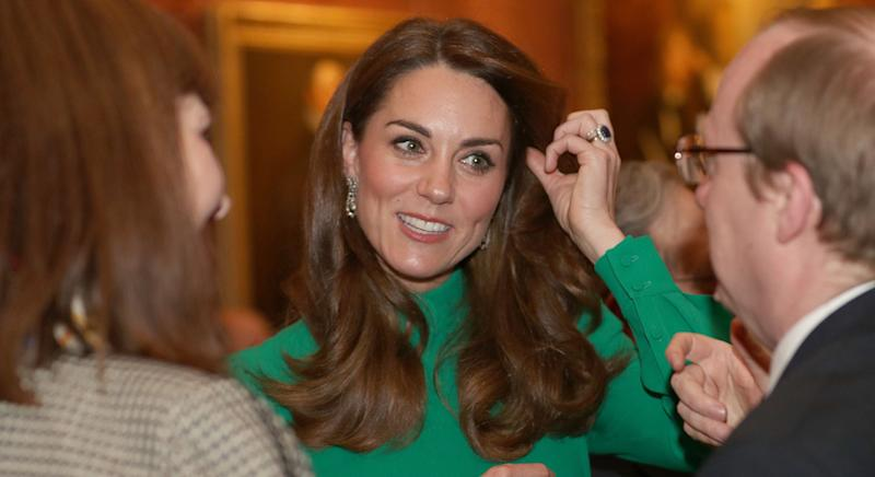 The Duchess of Cambridge wore Emilia Wickstead to attend a reception hosted by Queen Elizabeth II ahead of the NATO alliance summit. [Photo: Getty]