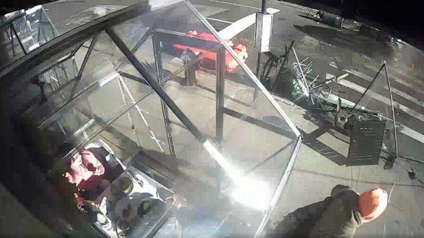 PHOTO: Surveillance video captured a car barreling into an outdoor dining area after a crash in New York City, March 5, 2021. (Blank Slate)