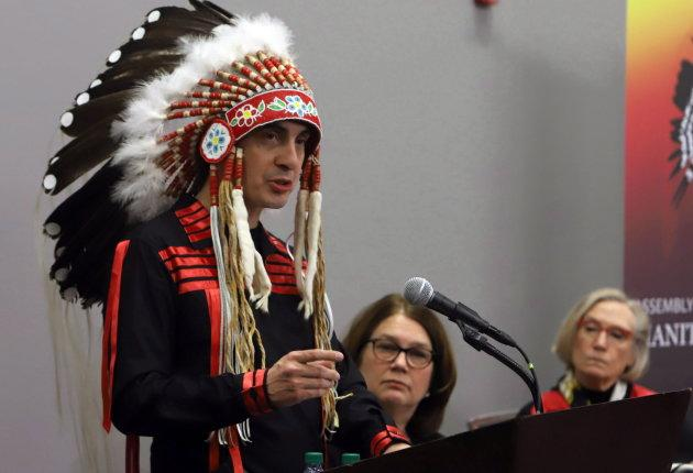 Grand Chief Arlen Dumas speaks during a signing ceremony to improve child and family services in Manitoba First Nations communities in Ottawa on Dec. 7, 2017.