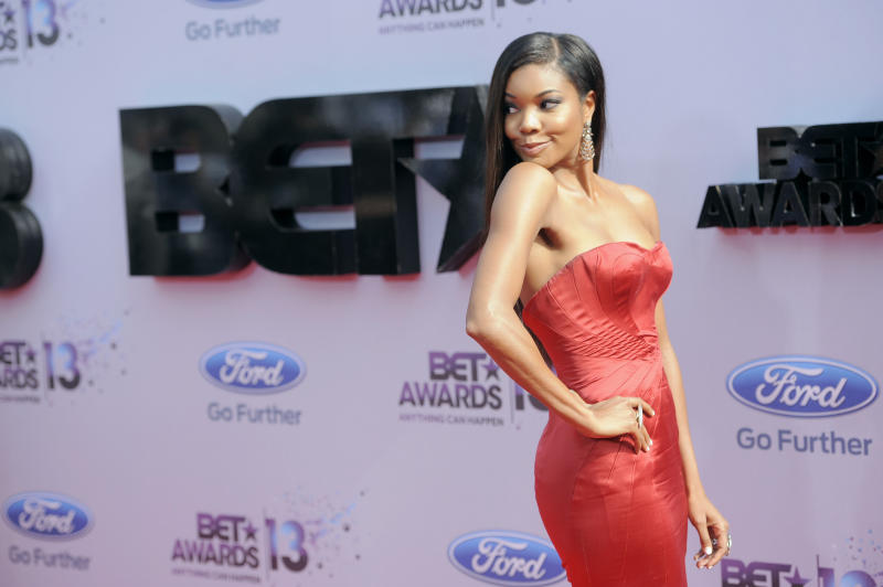 Gabrielle Union arrives at the BET Awards at the Nokia Theatre on Sunday, June 30, 2013, in Los Angeles. (Photo by Chris Pizzello/Invision/AP)
