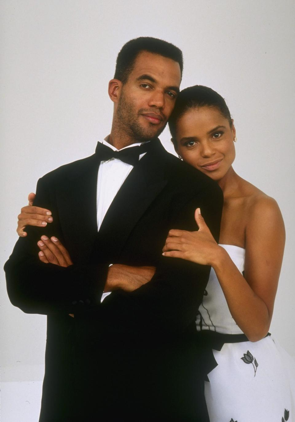 LOS ANGELES - JANUARY 1: Kristoff St. John (left, as Neil Winters) and Victoria Rowell (right, as Drucilla Barber Winters) star in THE YOUNG AND THE RESTLESS. January 1, 1997. (Photo by Monty Brinton/CBS via Getty Images)