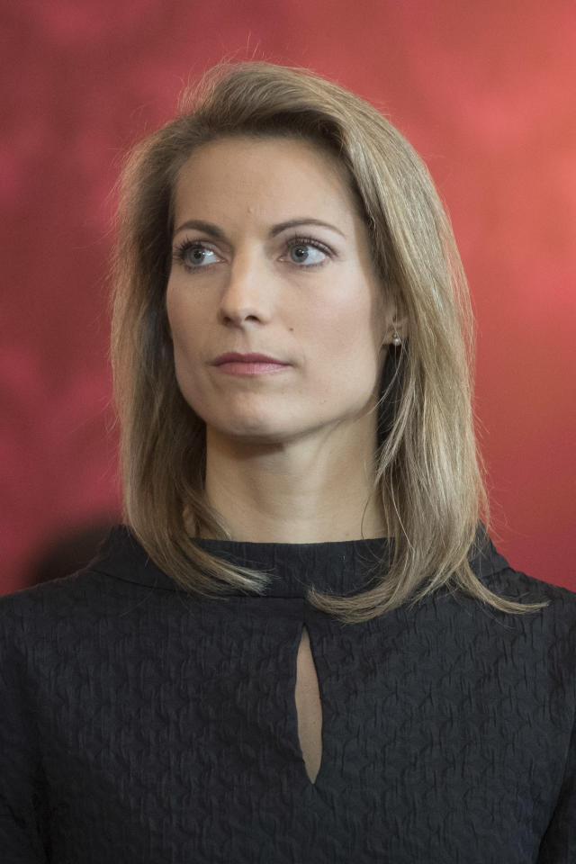 Austrian Minister of Transport, Innovation and Technology, Valerie Hackl attends an inauguration ceremony at Hofburg palace in Vienna, Austria, Tuesday, May 21, 2019. Austrian Chancellor Sebastian Kurz has called for an early election after the resignation of his vice chancellor Heinz-Christian Strache from the Freedom Party spelled an end to his governing coalition. (AP Photo/Michael Gruber)