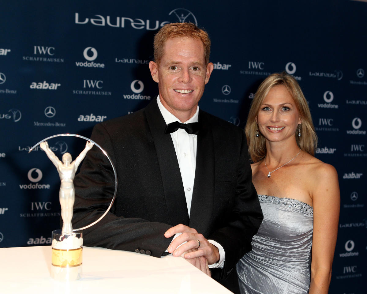 ABU DHABI, UNITED ARAB EMIRATES - MARCH 10:  Former Cricketer Shaun Pollock and wife Patricia Lauderdale arrives at the Laureus World Sports Awards 2010 at Emirates Palace Hotel on March 10, 2010 in Abu Dhabi, United Arab Emirates.  (Photo by Ian Walton/Getty Images for Laureus)