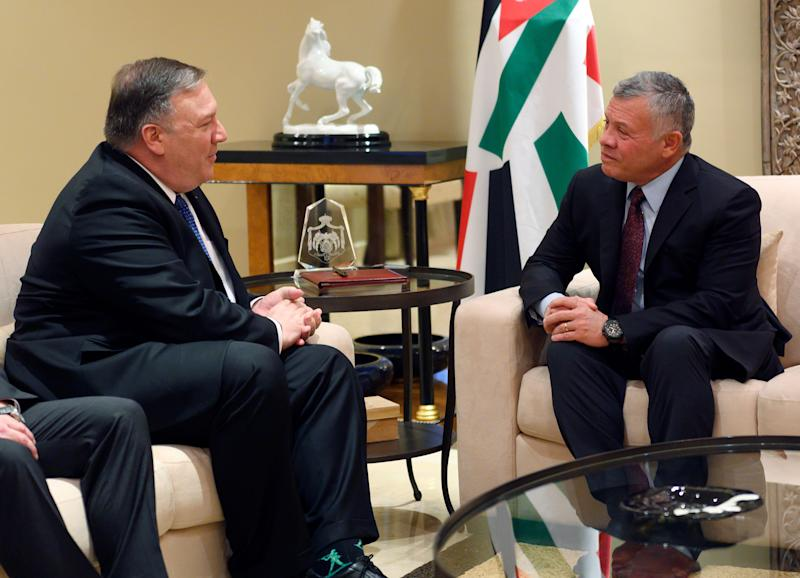 Secretary of State Mike Pompeo, left, meets with King Abdullah of Jordan, Tuesday, Jan. 8, 2019, in Amman, Jordan.